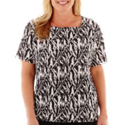 Alfred Dunner® Play On Color Tiered-Ruffle Zebra Print Knit Top - Plus