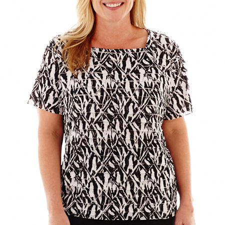 Alfred Dunner Play On Color Tiered-Ruffle Zebra Print Knit Top - Plus