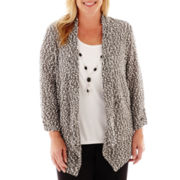 Alfred Dunner® Play On Color 3/4-Sleeve Layered Sweater with Necklace - Plus