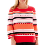 Alfred Dunner® Play On Color 3/4-Sleeve Beaded Striped Sweater - Plus