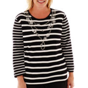 Alfred Dunner® Play On Color 3/4-Sleeve Necklace Striped Sweater - Plus
