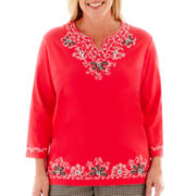 Alfred Dunner® Play On Color 3/4-Sleeve Embroidered Top - Plus