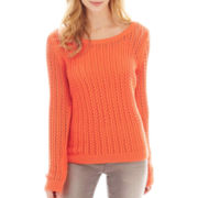a.n.a® Long-Sleeve Pointelle Open-Stitch Sweater - Petite