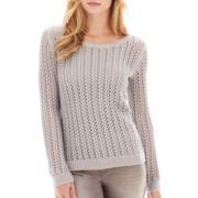 a.n.a® Long-Sleeve Pointelle Open-Stitch Sweater