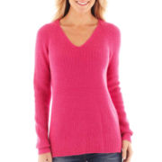 jcp™ Long-Sleeve V-Neck Shaker Sweater