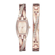 Womens Crystal-Embellished Twisted Split Watch and Bracelet Set