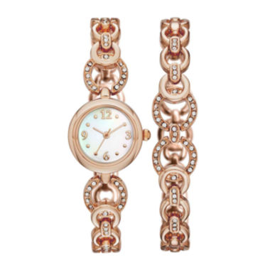 jcpenney.com | Womens Crystal-Embellished Open-Link Watch and Bracelet Set