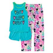 Total Girl® Eat and Sleep 3-pc Pajama Set - Girls 7-16