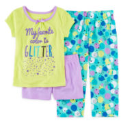 Okie Dokie® 3-pc.Short-Sleeve Glitter Pajama Set -  Preschool Girls 4-6x