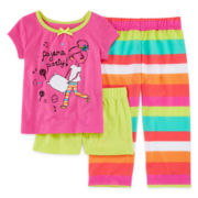 Okie Dokie® 3-pc. Short-Sleeve Party Pajama Set - Preschool Girls 4-6x