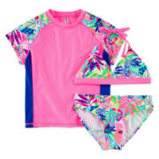 Breaking Waves Tropical Rash Guard & Swimsuit Set