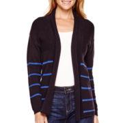Liz Claiborne® Long-Sleeve Shawl-Collar Striped Cardigan