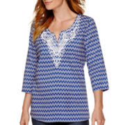 St. John's Bay® 3/4-Sleeve Printed Top