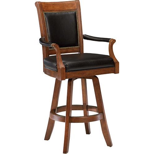 Kingston Upholstered Game Swivel Barstool with Back