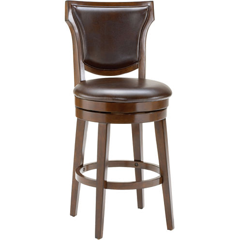 Country Heights Upholstered Swivel Barstool with Back