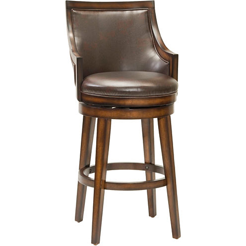 Lyman Upholstered Swivel Barstool with Back