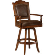Nassau Upholstered Swivel Game Barstool with Back