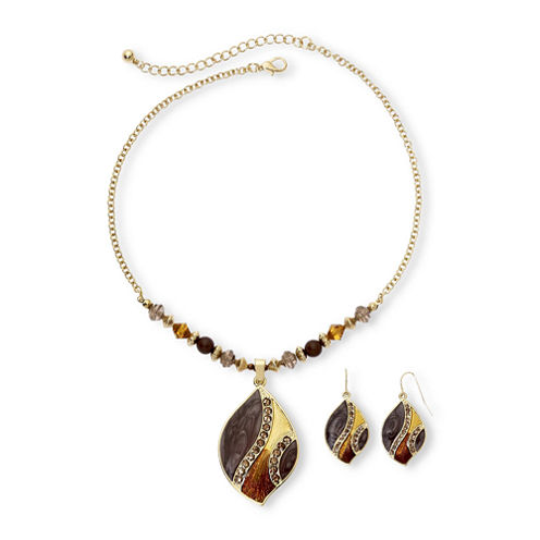 Leaf-Inspired Pendant Necklace & Drop Earrings Boxed Set