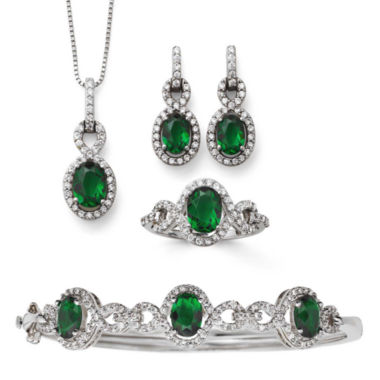 jcpenney.com | Simulated Emerald & Cubic Zirconia Boxed 4-pc. Jewelry Set