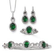Lab-Created Emerald & Cubic Zirconia Boxed 4-pc. Jewelry Set