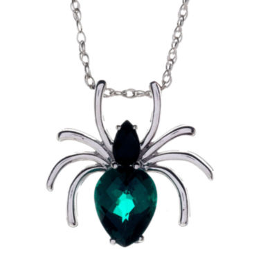 jcpenney.com | Genuine Black Onyx and Simulated Emerald Spider Pendant Necklace