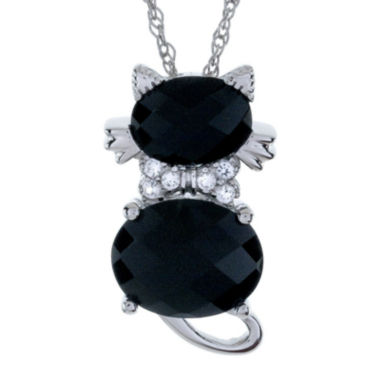 jcpenney.com | Sterling Silver Genuine Black Onyx and White Sapphire Cat Pendant Necklace