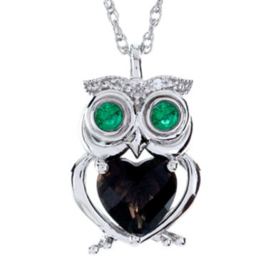jcpenney.com | Genuine Smoky Quartz & Lab-Created Emerald Owl Pendant Necklace