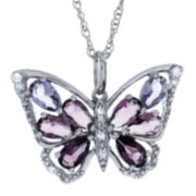 Sterling Silver Lab-Created Amethyst Butterfly Pendant