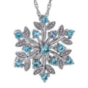 Sterling Silver Simulated Blue Topaz Snowflake Pendant