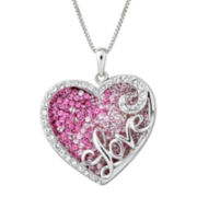 Sterling Silver Crystal Love Heart Pendant Necklace