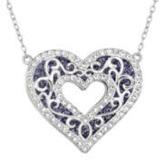 Sterling Silver Crystal Double-Decker Heart Pendant