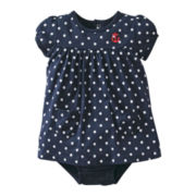 Carter's® Navy Polka-Dotted Romper - Girls newborn-24m
