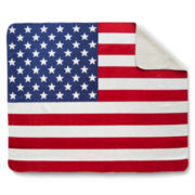 American Flag Sherpa Throw