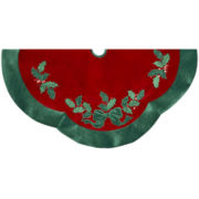 Kurt Adler Red Velvet with Green Leaves Appliqué Tree Skirt