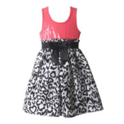 Pinky Sleeveless Sequin Animal-Print Dress – Girls 4-6x