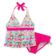 Breaking Waves Leopard Tankini - Girls 7-16 and Plus