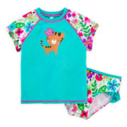 Breaking Waves 2-pc. Rashguard and Swim Bottoms Set - Girls 2t-5t