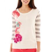 Worthington® 3/4-Sleeve Textured Grid Sweater - Petite