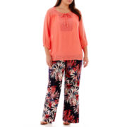 Alyx® Lace-Trim Gauze Peasant Top or Floral Print Soft Pants - Plus