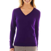Worthington® Long Sleeve V-Neck Sweater
