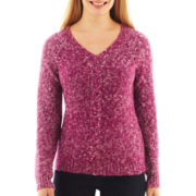 St. John's Bay® Long-Sleeve Marled V-Neck Sweater - Petite