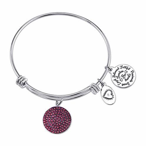 Footnotes Purple Silver Over Brass Bangle Bracelet