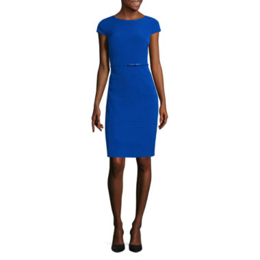 jcpenney.com | Alyx Cap Sleeve Belted Sheath Dress