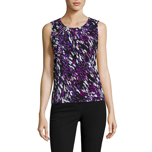Black Label by Evan-Picone Sleeveless Knit Blouse