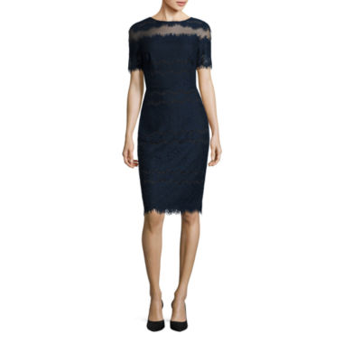 jcpenney.com | Melrose Fitted Short Sleeve Lace And Mesh Midi