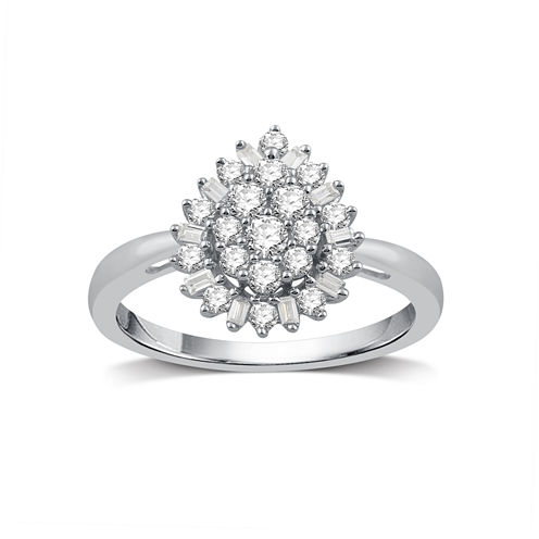 Diamond Blossom Womens 1/2 CT. T.W. White Diamond 10K Gold Cocktail Ring
