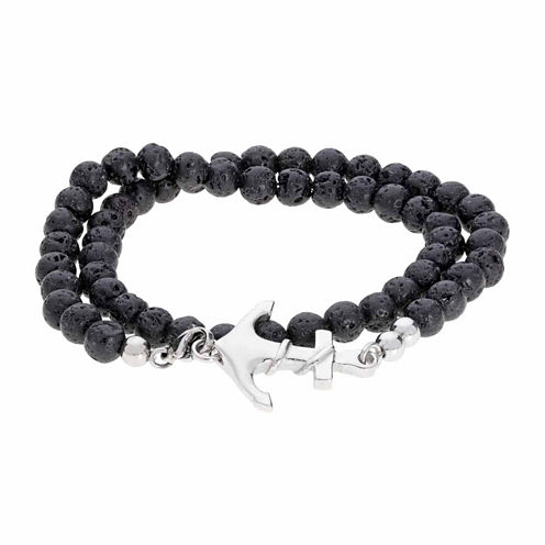 Mens Black Stainless Steel Wrap Bracelet