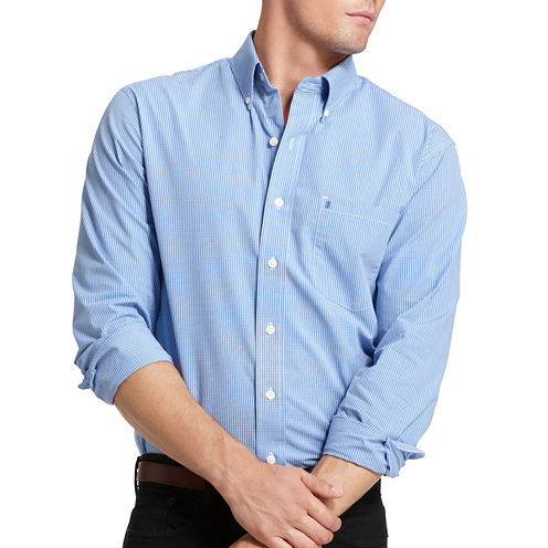 IZOD Button Long Sleeve Slim Essential - Button Front Shirt