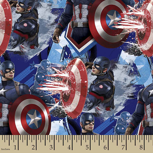 Captain America Power Cotton Fabric By The Yard