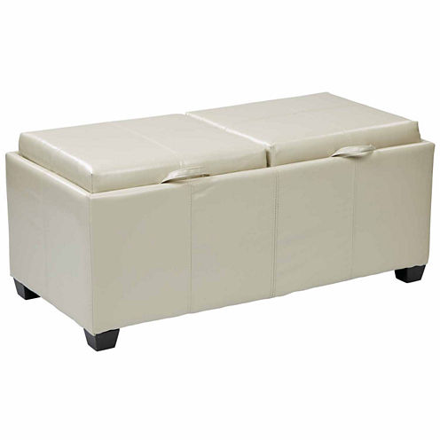 Bedford Bonded Leather Storage Ottoman with dual trays and seats